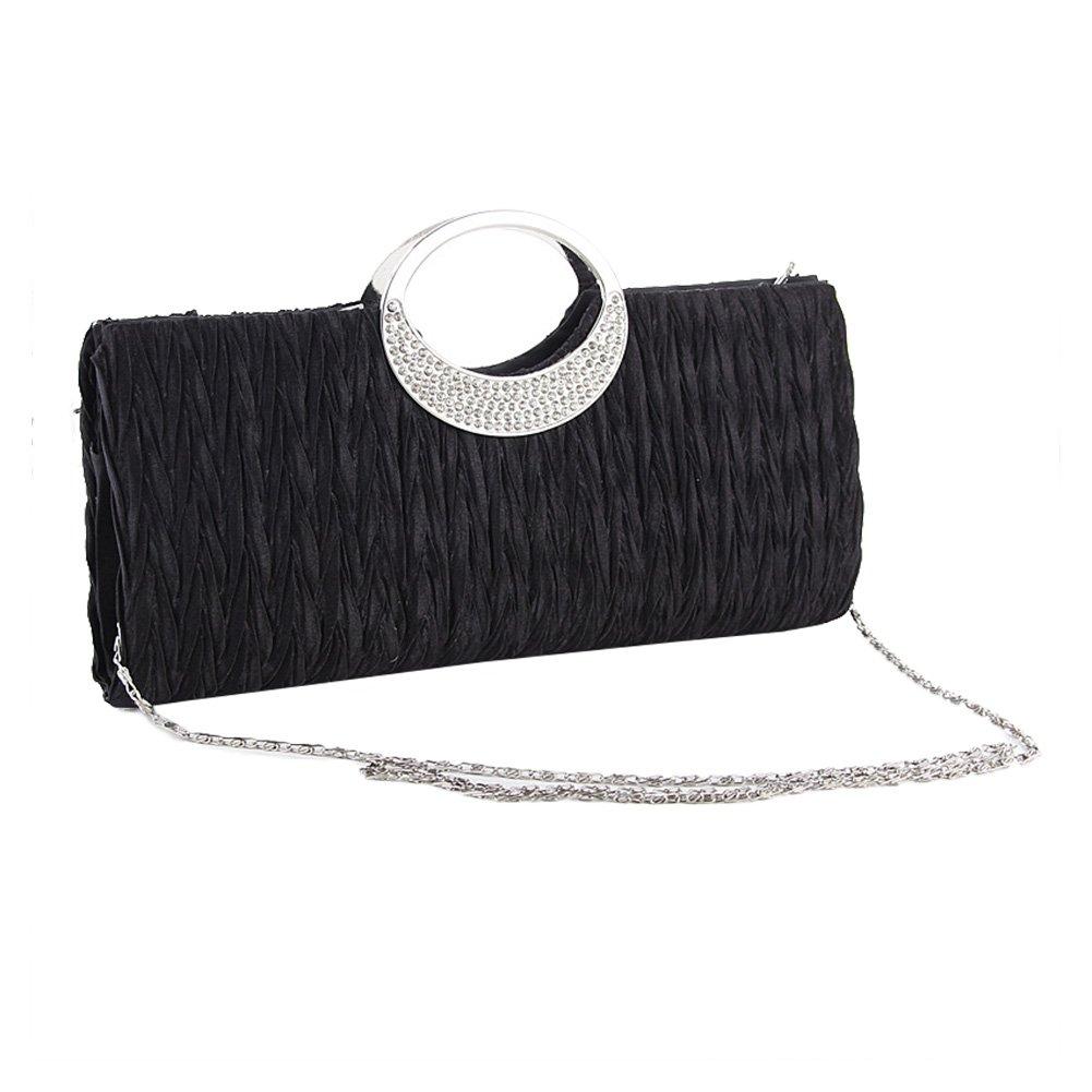 Noir pour femmes sacs de f/ête et mariage nuptiale Blanc Dxlta Mode Pochette de Soir/ée en Strass Satin sacoche sac /à main
