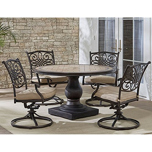 Hanover MONDN5PCSW-4 Monaco 5-Piece Rust-Free Aluminum Patio Dining Set Outdoor Furniture, Tan (Set Home Depot Patio Dining)