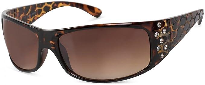 styleBREAKER gafas de sol con estrás y patillas anchas con óptica circular, lentes degradadas, mujeres 09020058