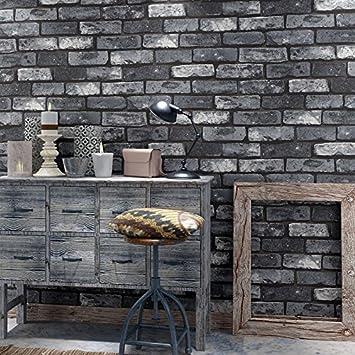 Papier Peint Chinois Mur Brique Impermeable Pvc 10mx0 53m Gris