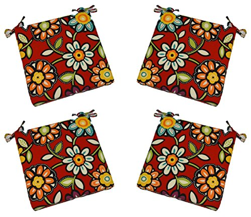 Set of 4 - Indoor / Outdoor Red Wilder - Red, Blue, Green, Yellow Contemporary Floral Universal 3