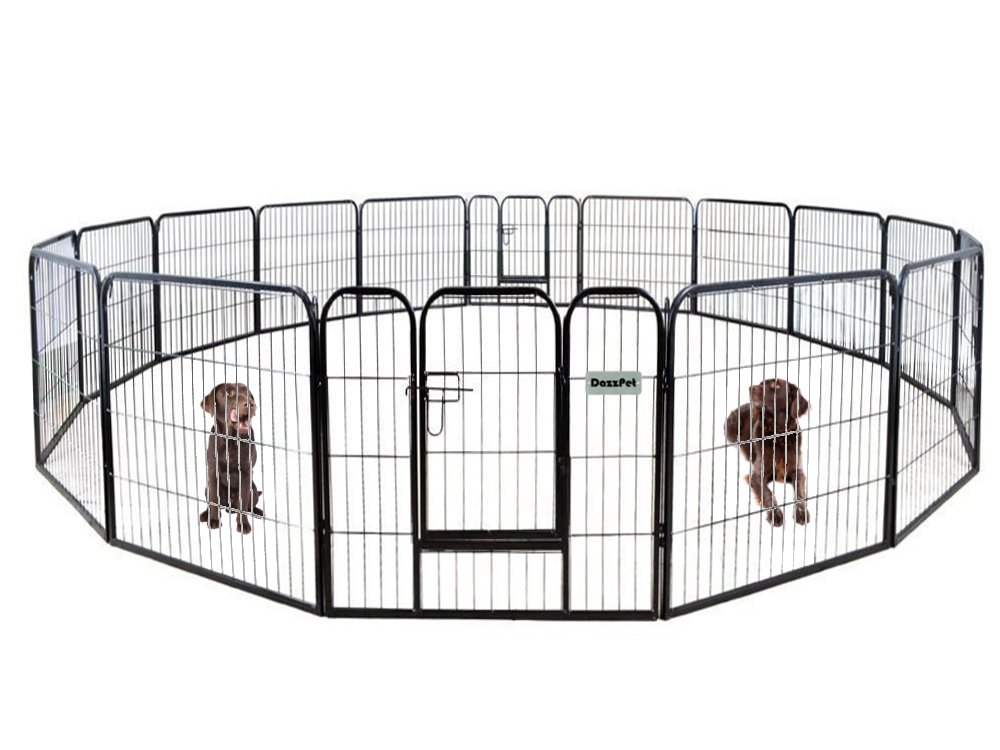 DazzPet Dog Puppy Large Playpen Metal Fence with Door | Heavy Duty Pet Pen Outside Exercise RV Play Yard | Outdoor Indoor Courtyard Kennel Crate Enclosures | 32'' Height 16 Panel