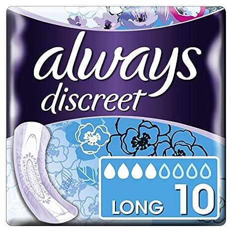 Always discreet Toallas sanitarias Largas para pérdida e incontinencia urinaria, 10 unidades - Juego de 2: Amazon.es: Salud y cuidado personal