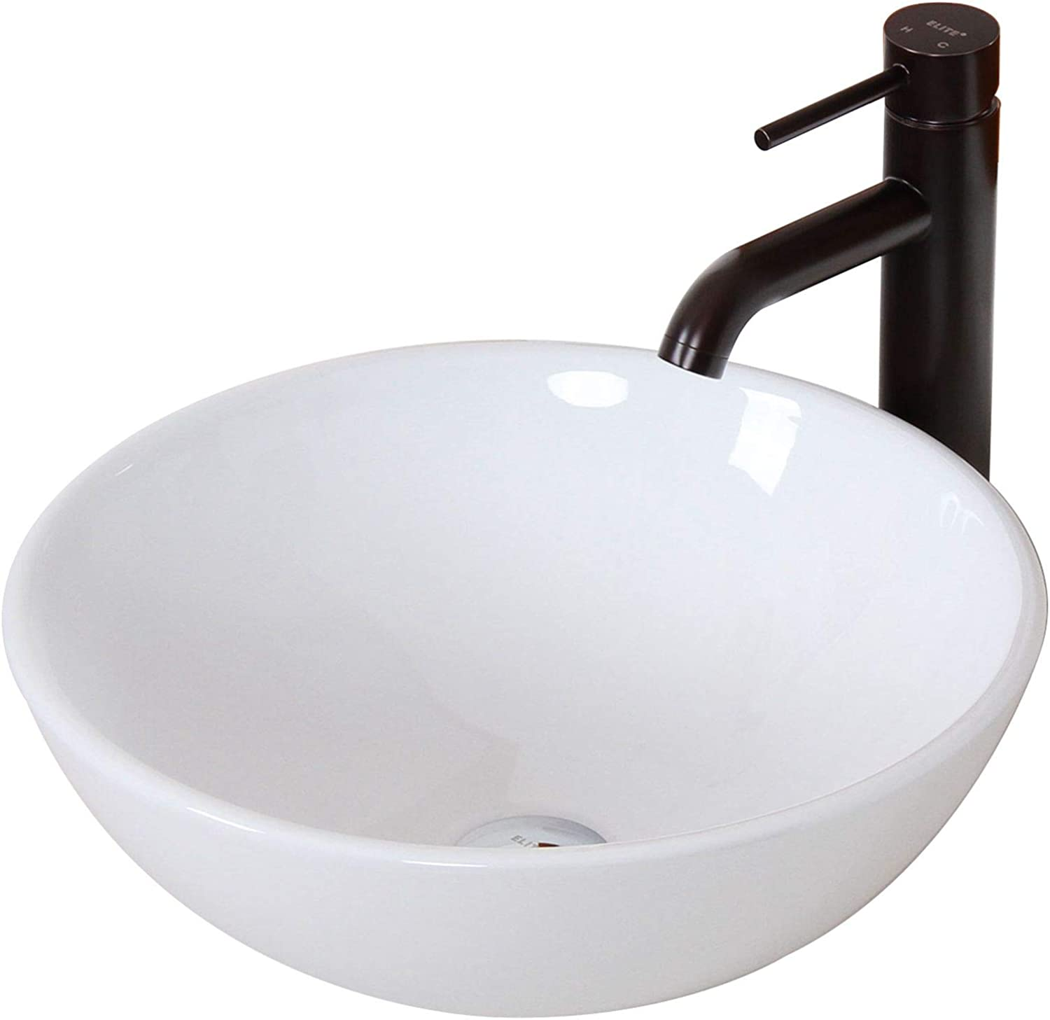 ELITE Bathroom Round White Ceramic Porcelain Vessel Sink Oil Rubbed Bronze Faucet Combo