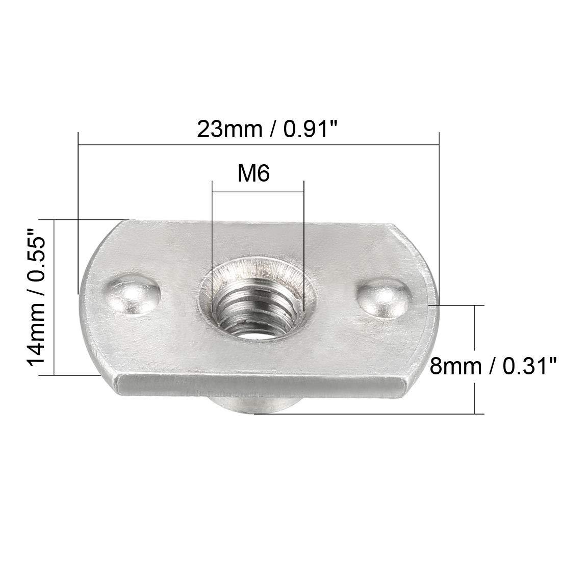 sourcing map 10 Stk.Karbon Stahl Platte Basis T-Form 2 Projektion Schwei/ßnaht N/üsse M6 de