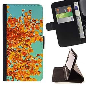 For HTC One M8 Case , Viñeta Hojas de oro de Brown del trullo- la tarjeta de Crédito Slots PU Funda de cuero Monedero caso cubierta de piel