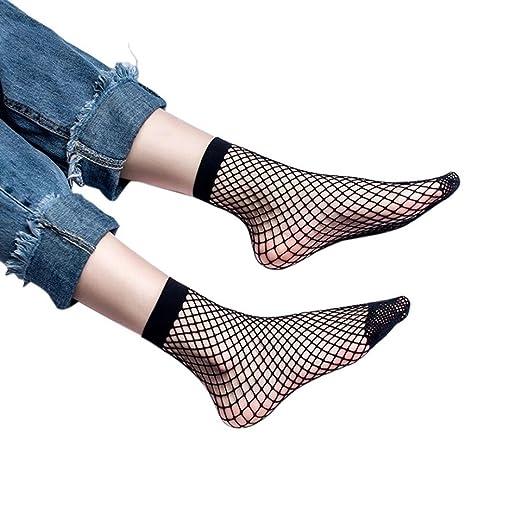 71f28271c Coohole Women Stylish Socks Sexy Lace Fishnet Net Plain Top-Ankle Short  Socks (A