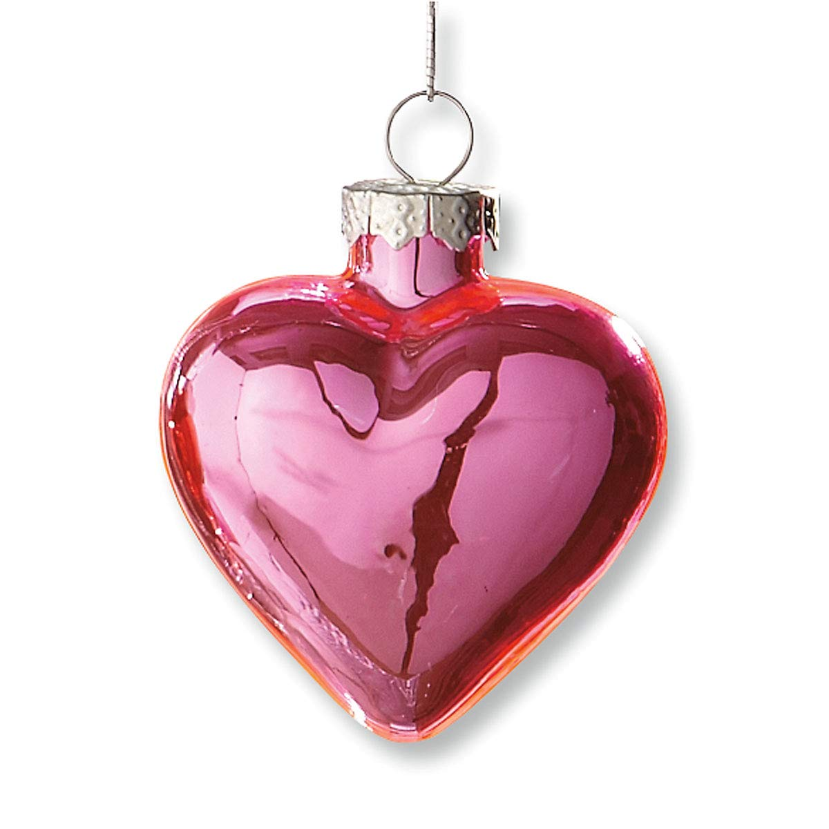 Hand Blown Glass Lillian Vernon Shiny Glass Hearts Valentines Day Ornaments 4 of Each Color 1-1//4 x 2 x 2 Holiday Decorations Set of 12 Festive Home Decor