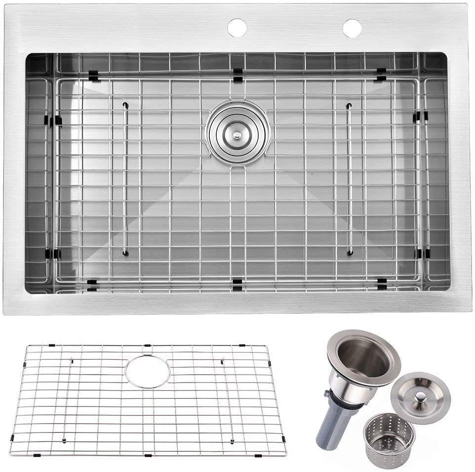 Friho 33 x 22 Inch 18 Gauge Commercial Large Topmount Drop-in Single Bowl Basin Handmade SUS304 Stainless Steel Kitchen Sink,Brushed Nickel Kitchen Sinks With Dish Grid and Basket Strainer