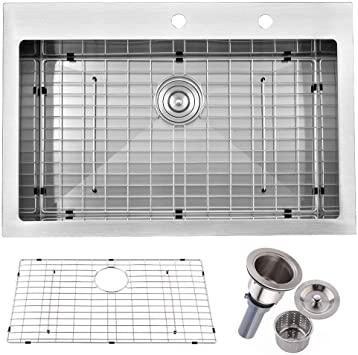 Friho 33 X 22 Inch 18 Gauge Commercial Large Topmount Drop In Single Bowl Basin Handmade Sus304 Stainless Steel Kitchen Sink Brushed Nickel Kitchen Sinks With Dish Grid And Basket Strainer Amazon Com