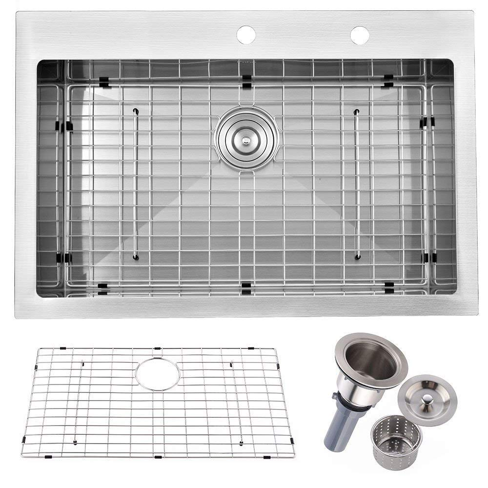 Friho 33''x 22'' Inch 18 Gauge Commercial Large Topmount Drop-in Single Bowl Basin Handmade SUS304 Stainless Steel Kitchen Sink,Brushed Nickel Kitchen Sinks With Dish Grid and Basket Strainer by Friho