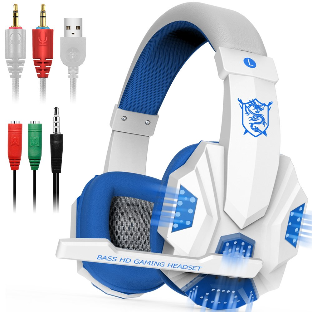 Gaming Headset with Mic and LED Light for Laptop Computer, Cellphone, PS4 and so on, DLAND 3.5mm Wired Noise Isolation Gaming Headphones - Volume Control.(White and Blue) by DLAND (Image #1)