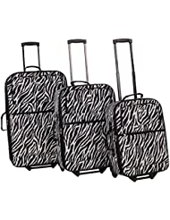 American Flyer Safari 3-Piece Luggage Set, Zebra Black, One Size