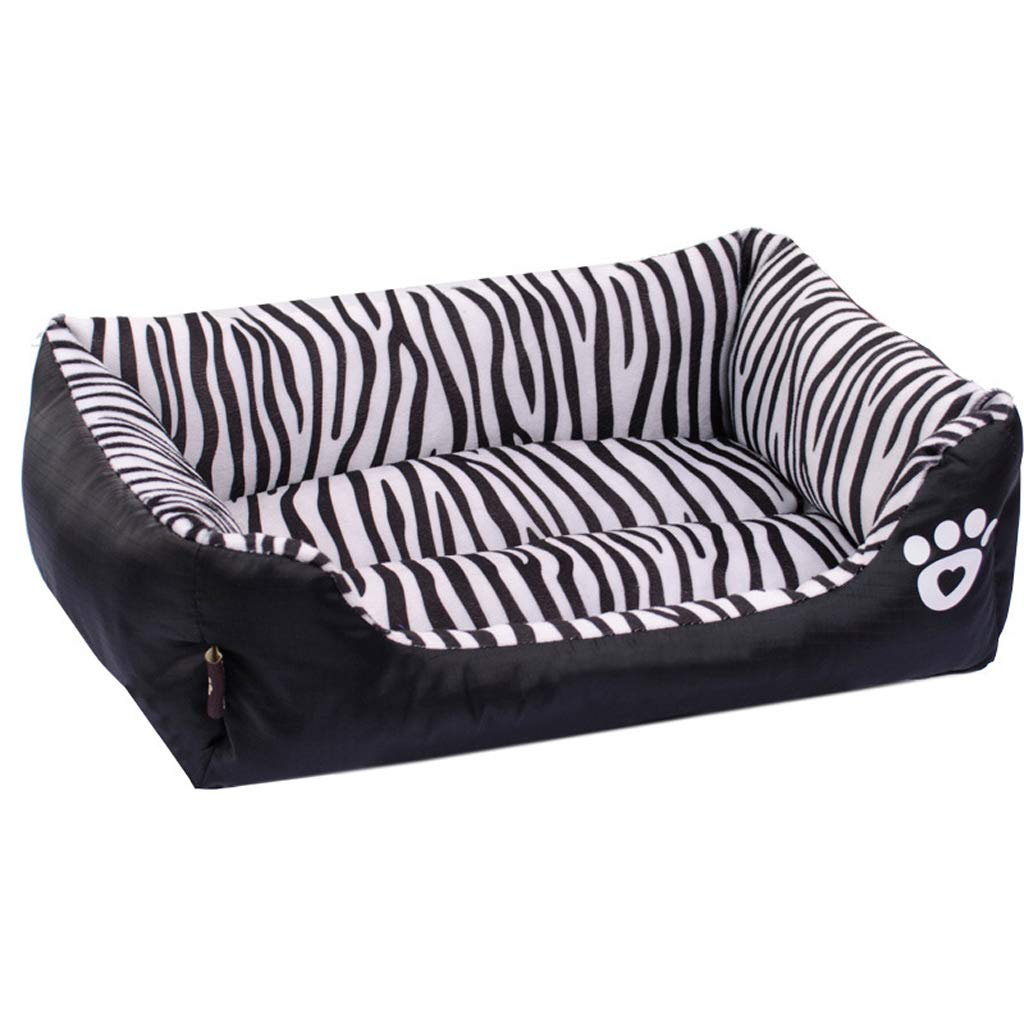 S Orthopedic Pet Bed, Striped Sofa-Style Chaise Dog Bed Cuddler with Dog Paw Printing for Dogs & Cats, Black (Size   S)