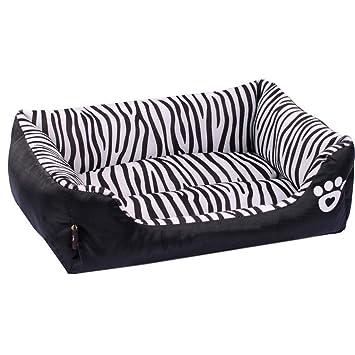 XLO Cama ortopédica para Mascotas, Sofá de Estilo a Rayas Chaise Dog Bed Cuddler con