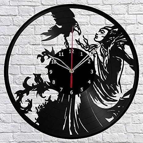 Handmade Maleficent Vinyl Record Wall Clock Fan Art Decor Original Gift Unique Decorative Vinyl Clock Black 12 30 Cm