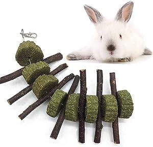 Leeko Bunny Chew Toys for Teeth, Organic Apple Wood Sticks Rabbits Improves Dental Health, Pet Snacks Toys with Grass Cake for Rabbits, Cats, Hamsters, Gerbils Birds