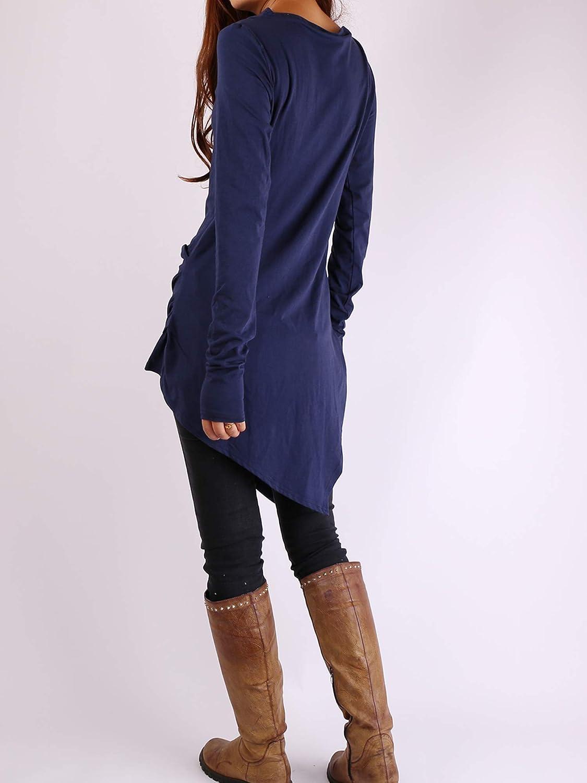 JZHstyle Womens Cotton Tunic Top Long Sleeve Dress Asymmetrical Tunic Dress Plus Size Oversized T-Shirt Casual Top Dark Blue Blouse