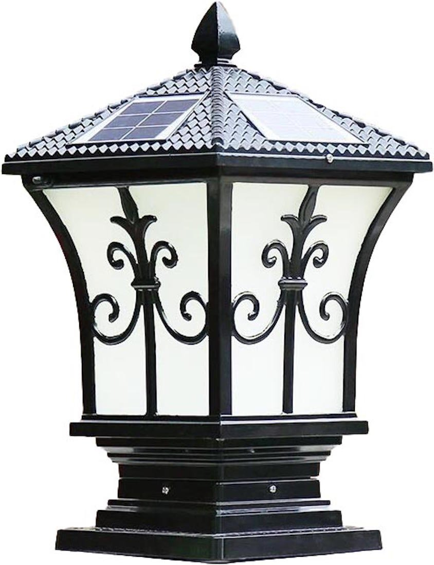 The Tall Extra Large Solar Post Cap Lights or Solar Pillar, Diameter: 9.45 Inch; Height: 17.7 Inch. Solar Powered Post Caps. Stylist Solar Post Caps (Solar Black)