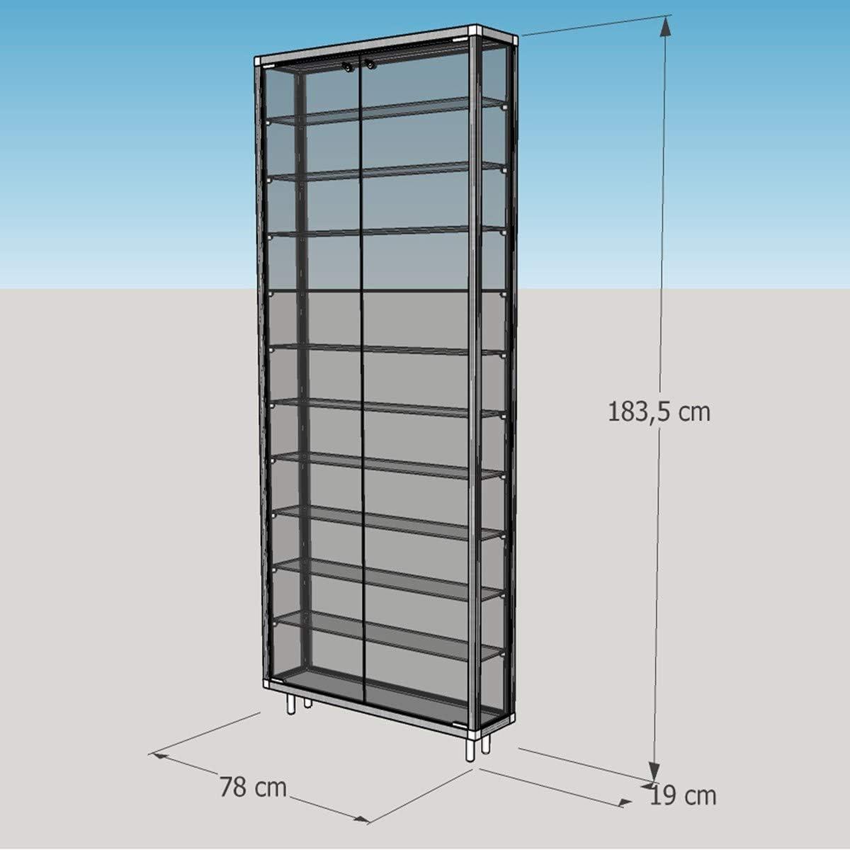 MHN - Vitrina de pared con cerradura para coleccionar, vitrina de pared grande de pie, vitrina de colección, patas de cristal, aluminio, con cerradura de 80 cm: Amazon.es: Hogar