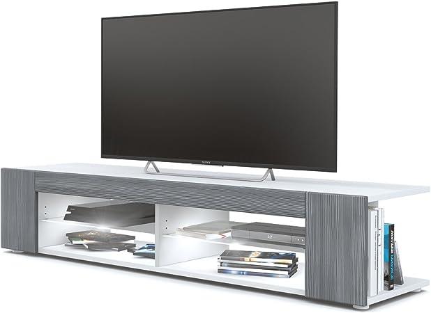 Mesa para TV Lowboard Movie, Cuerpo en Blanco Mate/Frentes en avola Antracita con iluminación LED en Blanco: Vladon: Amazon.es: Hogar