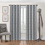 "Eclipse Nadya Grommet Blackout Window Curtain Panel, 63"", Smokey Blue"