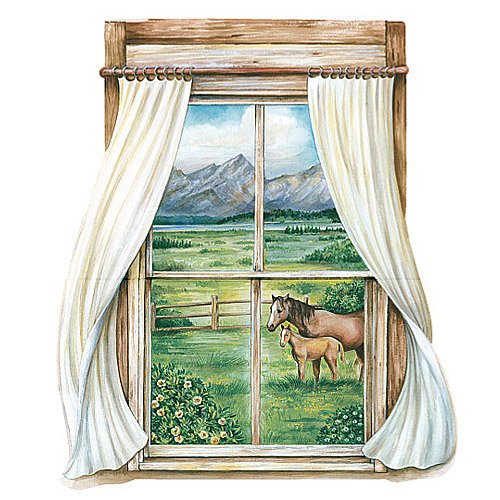 Wallies Big Mural - Wallies 15227 Grazing Pastures Window Wallpaper Mural, 2-Sheet