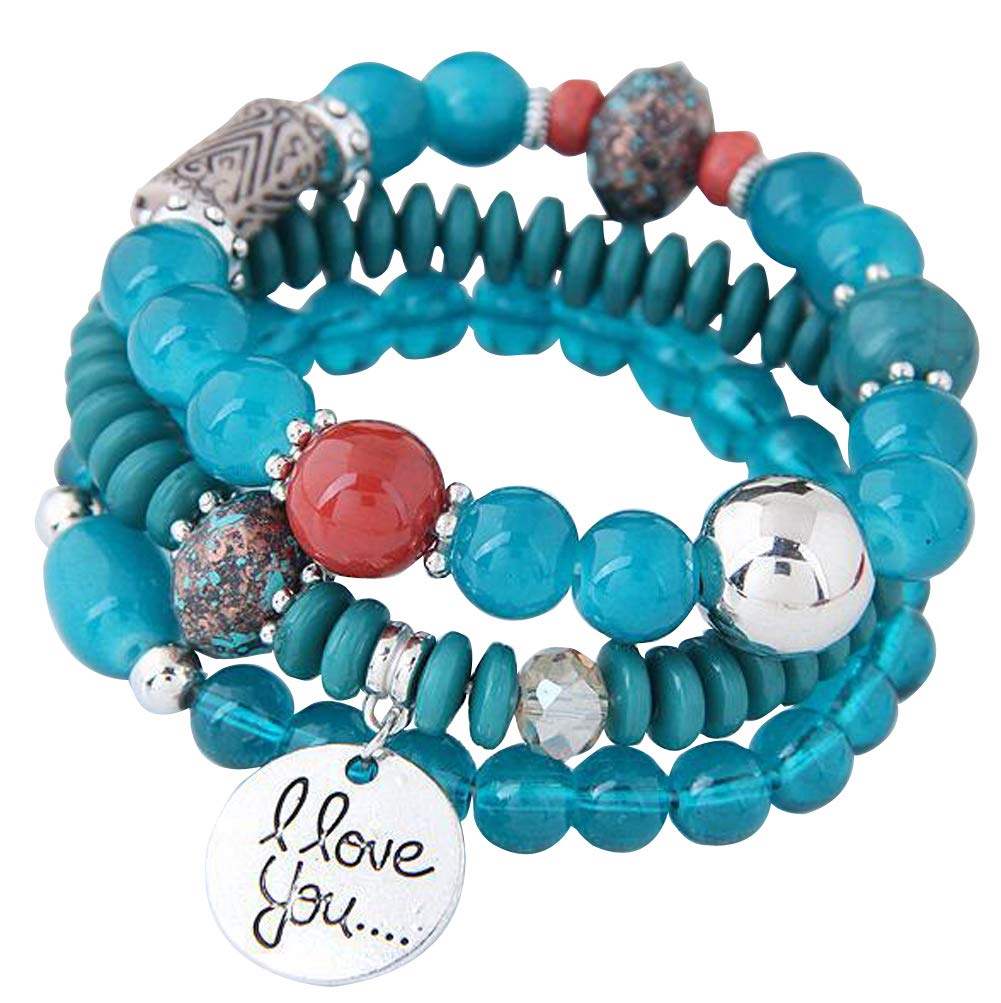 Oudeer Fashion Bohemia Beads Beaded Multi Strand Stretch Bracelet Bangles Stretch Multilayer Love Charm Jewelry (Blue)