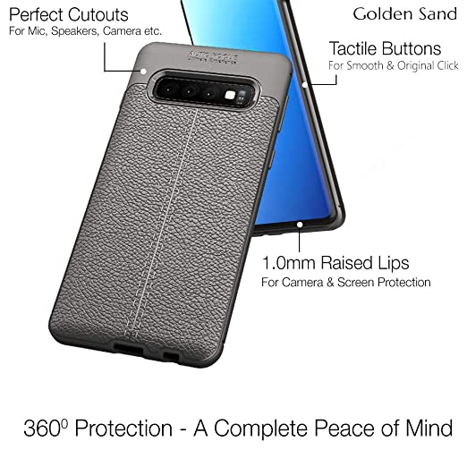 Golden Sand Slim Drop Tested Shock Proof Armor Leather Texture TPU Case for  Samsung S10 Plus Cover (Samsung Galaxy S10 Plus Back Cover Case), Grey