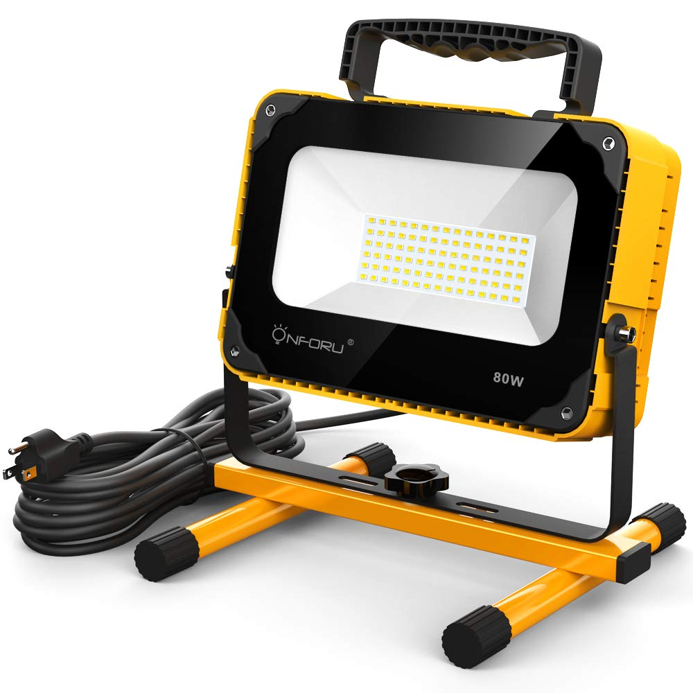 Onforu 80W 8000LM LED Work Light with Cooling Fan, 800W Equivalent, 2 Brightness Levels, 16.4ft Cord with Plug, Flood Lights with Stand for Workshop, Construction Site, 5000K Daylight White by Onforu