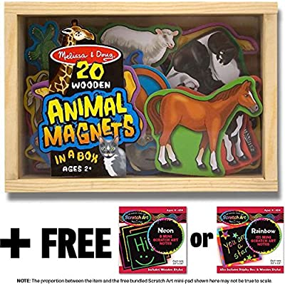Melissa & Doug Animal Wooden 20 Magnets-in-a-Box Gift Set & 1 Scratch Art Mini-Pad Bundle (00475): Toys & Games