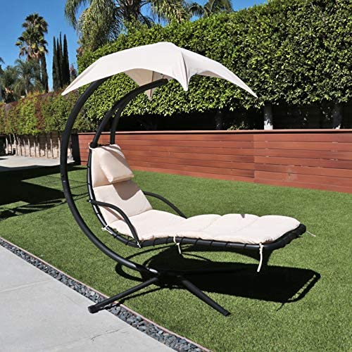 Flex HQ Hanging Chaise Lounger Chair Arc Stand Porch Swing Hammock Chair