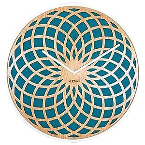 Nextime Sun Large Reloj de Pared, Madera, Turquesa, 50 x 5.5 x 50 cm 1