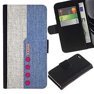 Billetera de Cuero Caso del tirón Titular de la tarjeta Carcasa Funda del zurriago para Apple Iphone 4 / 4S / Business Style Denim Design Blue Red Buttons Textile Fabric