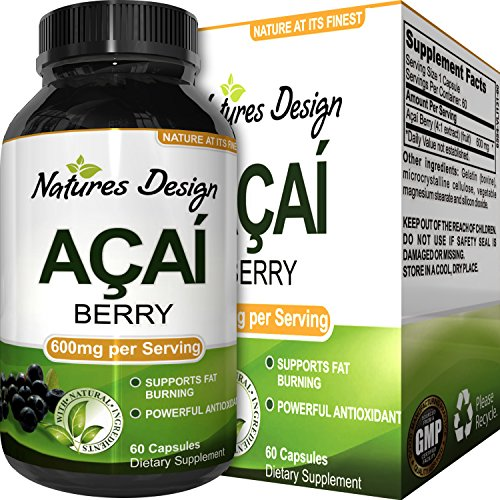 100% Pure Natural Acai Berry Weight Loss Supplement Detox Products Anti-Aging Antioxidant Superfood Cleanse and Burn Fat Improve Health Boost Energy Cardiovascular Health and Digestion (Acai Supplements)