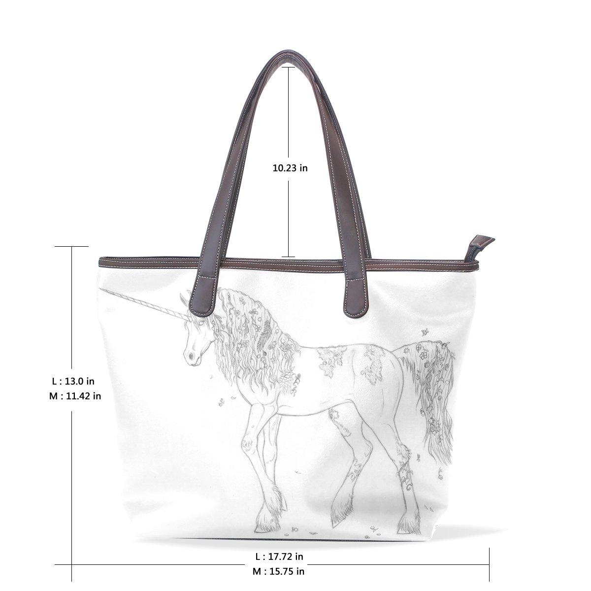 Ye Store White Horse Lady PU Leather Handbag Tote Bag Shoulder Bag Shopping Bag
