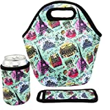 Neoprene Lunch Bag - Insulated Lunch Tote Bags for Women & Girls - Lunch Boxes for Kids & Adults - Adult Lunch Box (Paris Design Set)