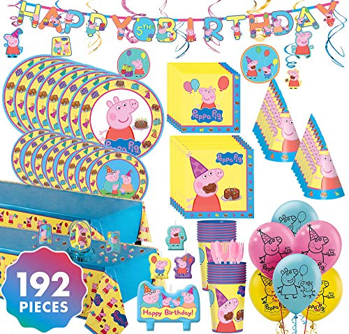 Party City Peppa Pig Ultimate Party Kit for 16 Guests, 192 Pieces, Includes Tableware, Decorations, Hats, and -