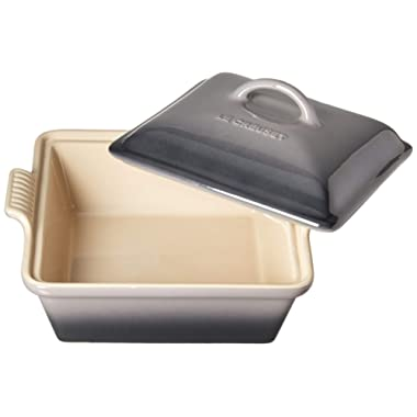 Le Creuset PG08053A-237F Heritage Stoneware Covered Square Casserole Baking Dish, 2.5 quart, Oyster