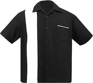 Steady Ropa Blanco y Negro salón de Bolos para Hombre Camiseta Rockabilly 1950s de la Espalda a 50 - Multi -: Amazon.es: Ropa y accesorios