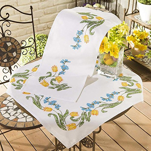Nob Hill Yellow Tulip Wreath Table Runner Stamped Cross-Stitch Kit
