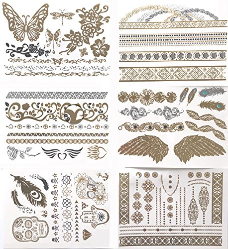Temporary Henna Tattoos 77+ Men, Women And Kids Love These Temp Metallic Flash Tatoos. Large Adult Tattoo Kit Has The Look Of Real Gold And Silver Leaf. Long Lasting, Waterproof But Easily Removable.