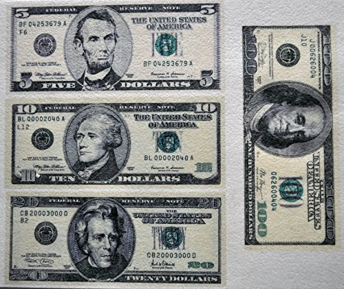 Edible Wafer Dollar Bills $100 $20 $10 $5 Real Size ~ BUY TWO GET THIRD ()