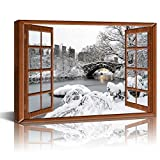Live Art Decor - Central Park Canvas Wall Art,View from Vintage Window of Gapstow Bridge,New York City Winter Landscape Painting Modern Wall Decor,Gallery Wrap Ready to Hang-24 x 36