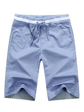 magasin plus de photos qualité parfaite SOIXANTE Bermuda Homme en Coton Tissu Confortable StyleTaille Elastique  Corde De Serrage