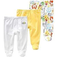 Pack de 3 Pantalones para Bebé Niños Leggings con Pies de Algodón, 3-6 Meses