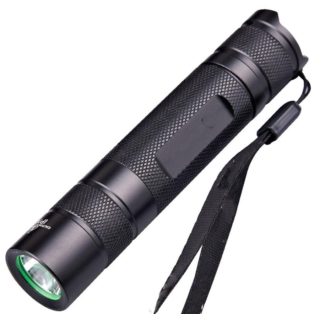 LYLgoo LED Camping Handlampe Taschenlampe flashlight Taktische Taschenlampe Wasserfest 5 Licht Modi Wiederaufladbare Taschenlampe mit Zoom Batterie oder Akku Schwarz für Camping, Wandern, Notfälle