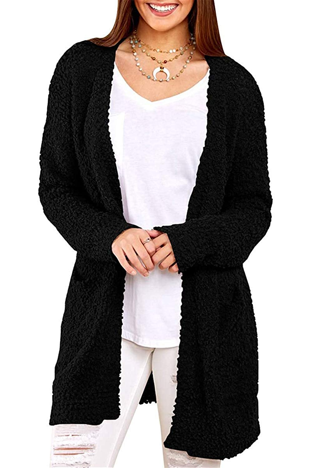 Y Black Cloudless Womens Long Hooded Cardigans Fall Pockets Knit Plain Sweaters Outwear
