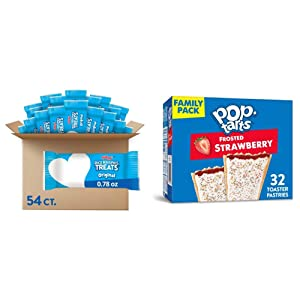 Kellogg's Rice Krispies Treats, Crispy Marshmallow Squares, Original, School Lunch Snack, 41.9oz Case (54 Count) & Pop-Tarts, Breakfast Toaster Pastries, Frosted Strawberry, 54.1oz Box (32 Count)