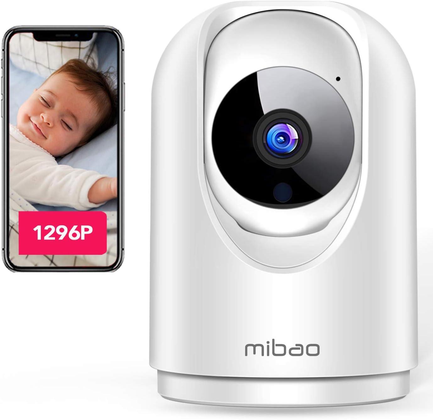 【Última versión 2020】 1296P Cámara de Vigilancia Interior, Cámara IP Mibao 3MP WiFi, Visión Nocturna, Detección Remota de Movimiento, Aviso de Aplicación, Audio Bidireccional, Trabajo con Alexa